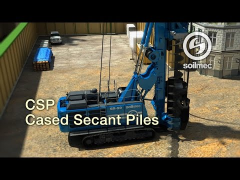 Soilmec Cased Augered/Secant Piles technology animation CAP/CSP [SR-90 machine]