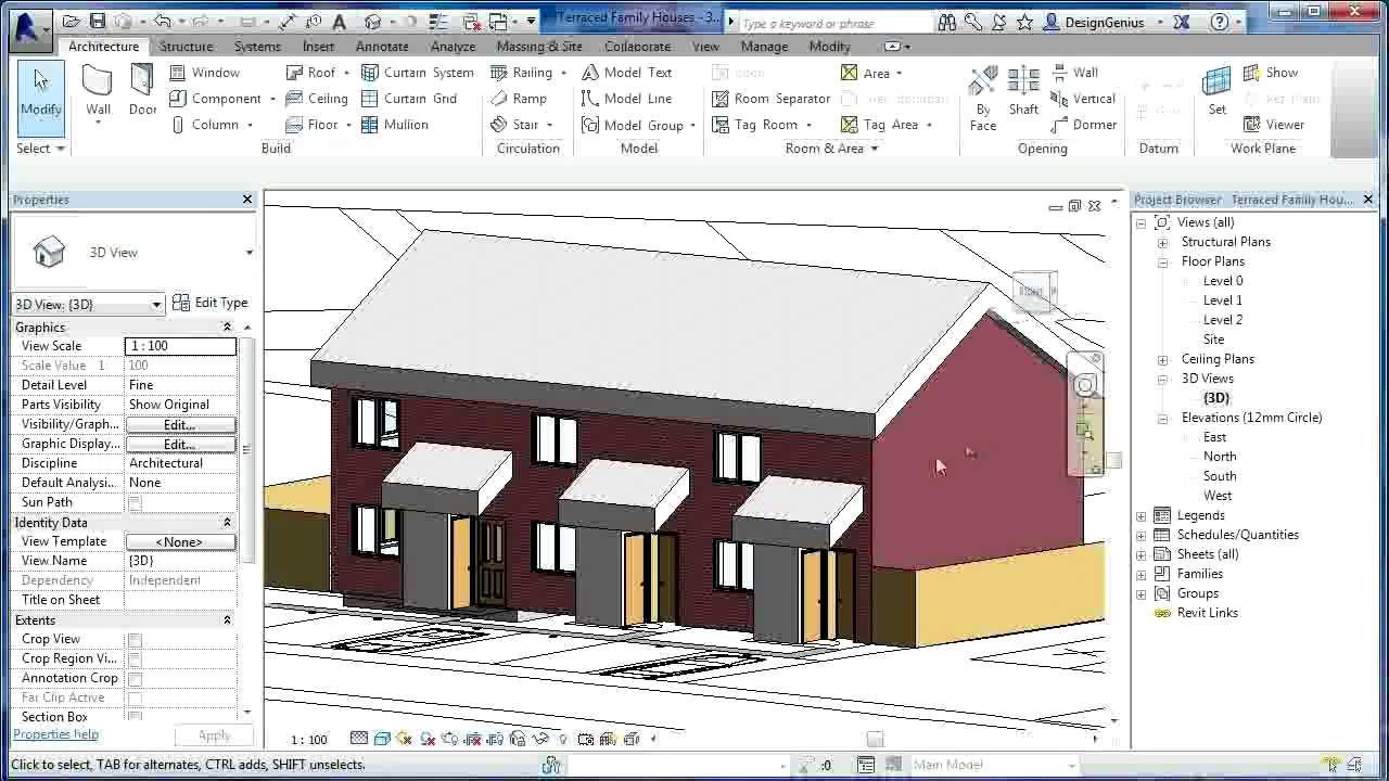 Revit tutorials terraced houses design 6 revit for Revit architecture house design