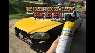 Spray can painted the hood with CHEAP rustoleum paint AMAZING RESULTS