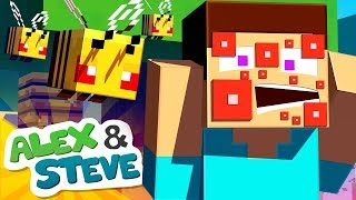 🐝 STEVE GOT STUNG BY BEES!! | The Minecraft Life of Alex and Steve | Minecraft Animation