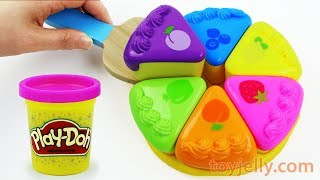 How to Make Play Doh Color Fruits Cake Velcro Cutting Baby Toy and Microwave Oven Kids Toy Appliance