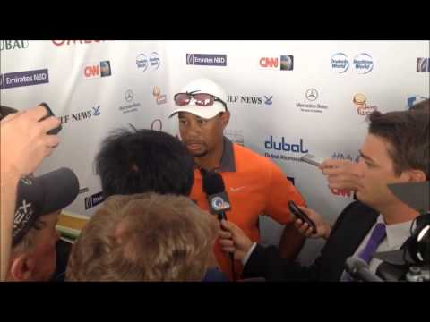 Tiger Woods after the his 3rd round at the 25th Omega Dubai Desert Classic 2014