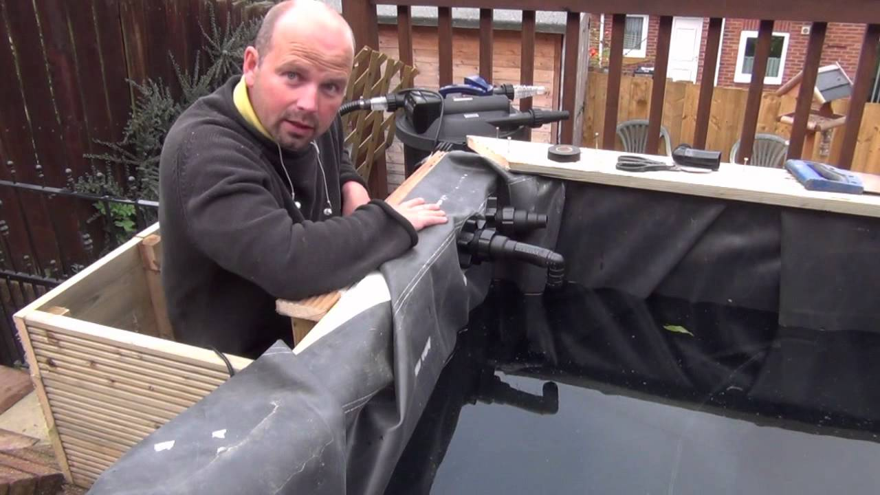 How to build a raised wooden patio pond by pondguru youtube for Wooden koi pond construction