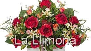 Arreglos florales artificiales. Jardinera cerámica rosas artificiales rojas 32 -La Llimona