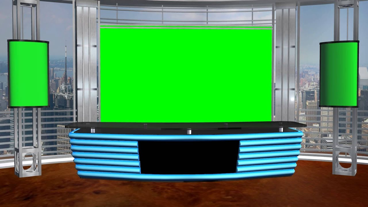 News background set for green screen