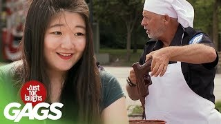 Gun Falls in Chocolate Cake Batter Prank - Just For Laughs Gags