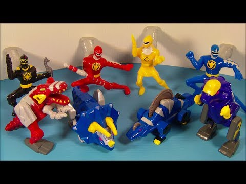 2003 POWER RANGERS DINO-THUNDER SET OF 8 McDONALD'S HAPPY MEAL KID'S TOY'S VIDEO REVIEW