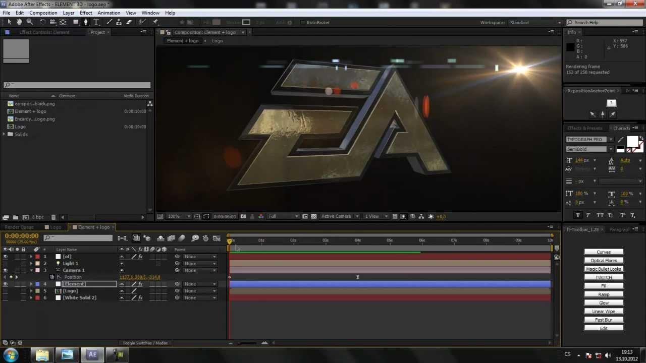 Cztutori l after effects 112 element 3d logo youtube for Habitacion 3d after effects