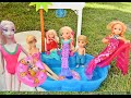 Barbie Pool Party! Chelsea's Mermaid Glam Pool Party Anna and...