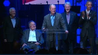 Former Presidents speak at relief concert