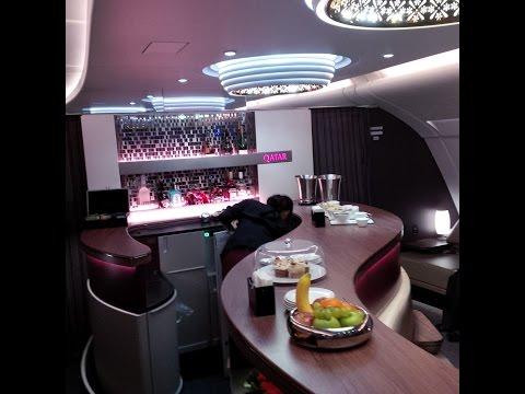 Qatar Airways A380 Business Class flight Doha - Bangkok