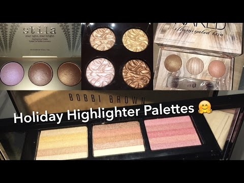 Holiday Highlighter Palettes : Swatches : Comparisons : Stila. Becca. UD. Laura Mercier. Bobbi Brown