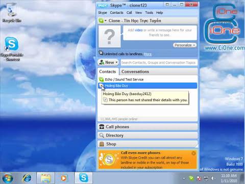 Hướng dẫn gọi điện thoại miễn phí bằng Skype - Hoàng Bảo Duy