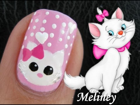 Cute Marie the Cat Nail Art Tutorial from the Disney Movie The Aristocats Animal