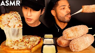 ASMR EXTRA CHEESY PIZZA & MOZZARELLA CORN DOGS with PRINCE OF ASMR (No Talking) EATING SOUNDS