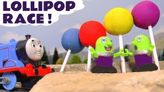 Thomas & Friends Play Doh Lollipop Race with the funny Funlings sharing candy - Fun toy story TT4U