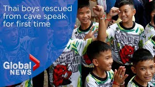 Thai boys rescued from cave speak for first time