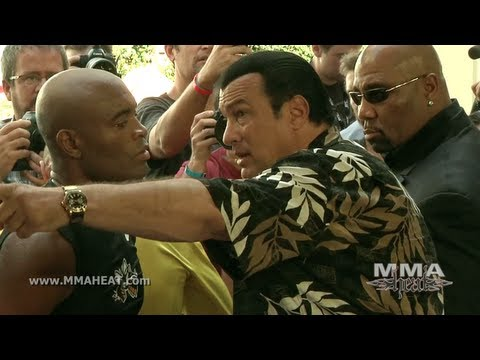 UFC 148: Anderson Silva's Boxing Workout Featuring Soccer Star Ronaldo and Steven Seagalvs Feijao