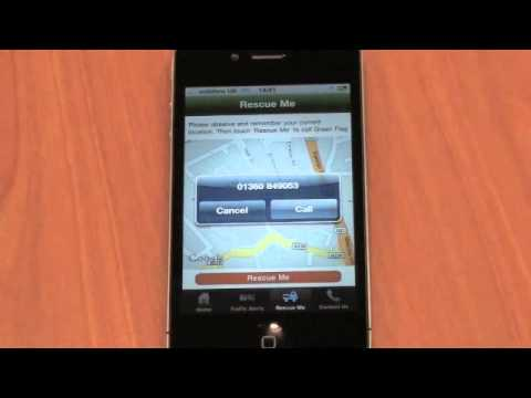 Demo of Green Flag's Rescue Me app for the iPhone and iPod touch