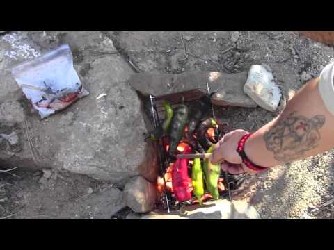 Cooking Green Chile On An Open Fire