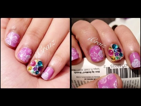 Girly Pink Vintage Flowers Nail Design-VERY EASY!