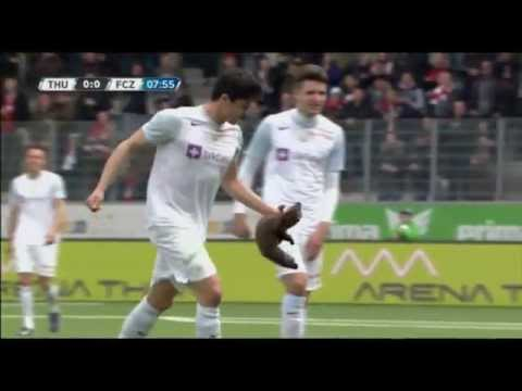 Pine Marten Bites Loris Benito During Football Match In Switzerland