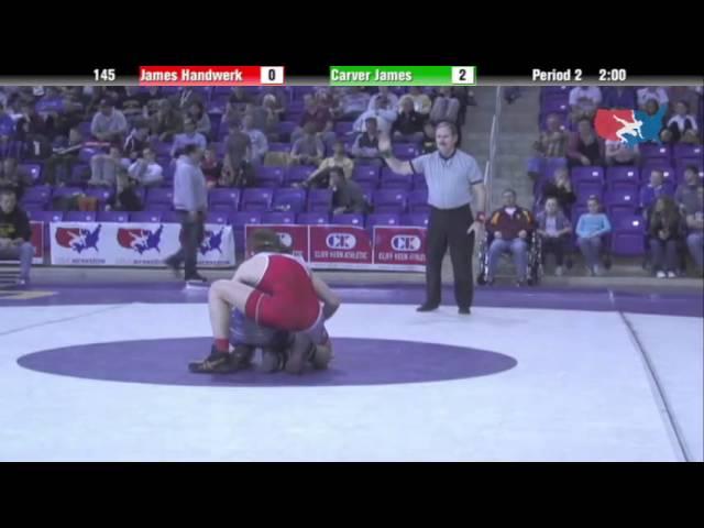 Cadet 145 - James Handwerk (Longhorns WC) vs. Carver James (Dakota Wrestling Club)