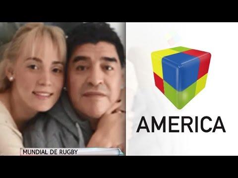 Maradona y Rocío Oliva, juntos en Inglaterra para alentar a Los Pumas