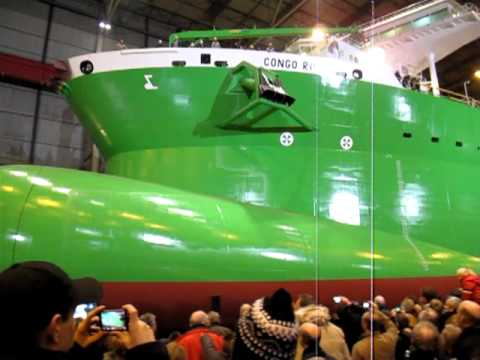 "Launching ceremony, on Friday 21st of January 2011 at 1910 hrs, of the trailing suction hopper dredger ""CONGO RIVER"", built for DEME Group of Belgium, at IHC..."