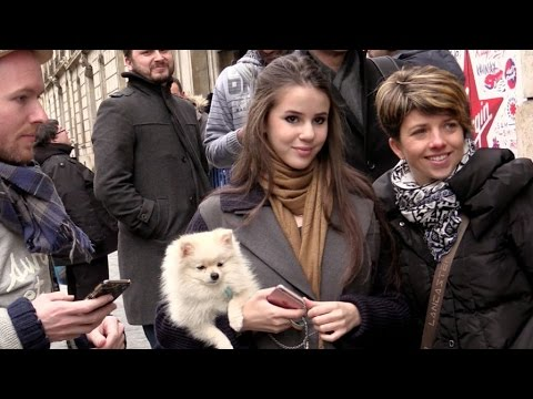 EXCLUSIVE: Marina Kaye and adorable dog at Europe 1 radio station in Paris