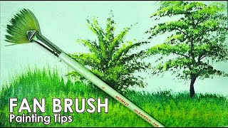 Acrylic Painting Lesson - How to Paint Grasses and Other Plants Using Fan Brush by JM Lisondra