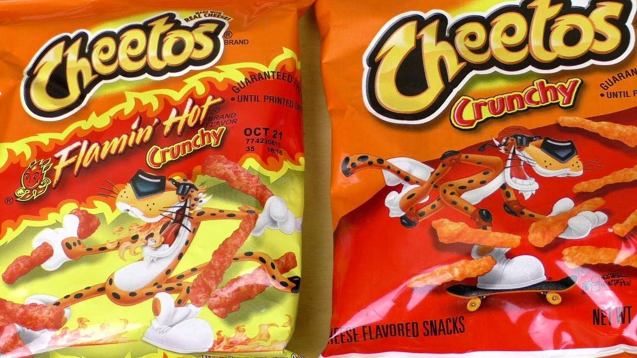 cheetos flamin hot crunchy amp puffs youtube
