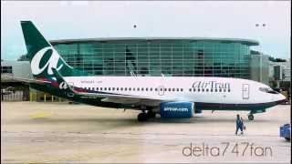 MDW Action -- AirTran Airways B737-7BD -- Pushback + Departure