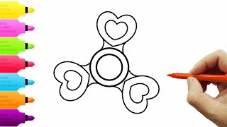 How To Draw and Color Fidget Spinner l Heart Fidget Spinner Kids Drawing Coloring Videos For Kids