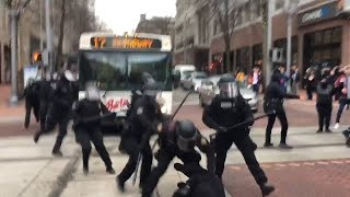GRAPHIC LANGUAGE WARNING: Police move in on protestors in downtown Portland