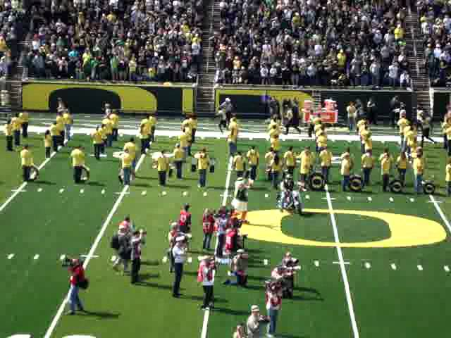 Ducks run out of the tunnel at the Oregon Ducks spring game 4-28-2012