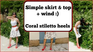 Crossdresser - simple skirt and top with coral stiletto peeptoe heels | NatCrys
