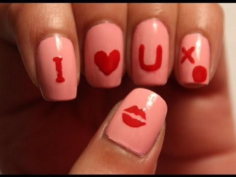 Valentine's Day I Love You Nails (Tutorial and review)