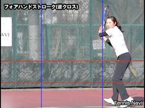 テニスナビ教室:宮﨑優美のフォアハンドストローク(逆クロス)