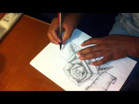 dibujo de rosa con pergamino a lapiz - YouTube