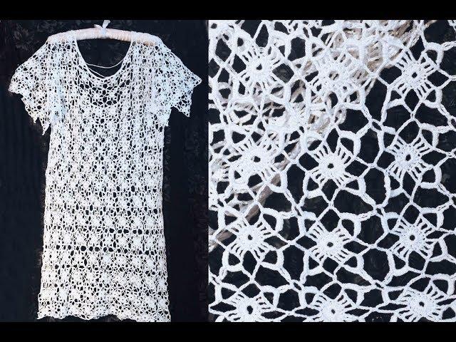 Ажурное платье - туника для пляжа. Вязание. Вязание крючком. Knitting Crochet