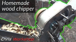 Homemade wood shredder for heating wood chips production