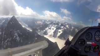 sailplane over the french alps