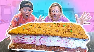 DIY Giant Edible Ice Cream Cookie Sandwich You Can Eat Challenge!!