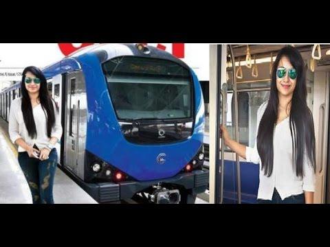 Trisha's Surprise Trip in Chennai Metro Train   நடிகை திரிஷா மெட்ரோ ரயிலில் பயணம் Photo Image Pic