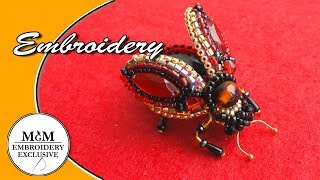 HAND EMBROIDERY: BROOCH FLY| BEETLE | ВЫШИВКА: БРОШЬ:МУХА / ЖУК