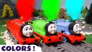 Learn Colors with Thomas and Friends toy trains the funny Funlings and Cars McQueen TT4U