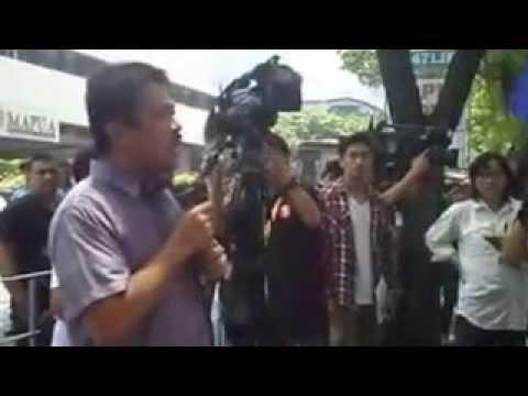 Bayan Muna Rep  Carlos Zarate at protest rally at Chinese Consulate
