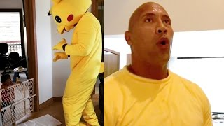 'The Rock' Dances to 'Juju On That Beat' In Pikachu Costume
