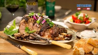 Slow roast Greek style leg of lamb